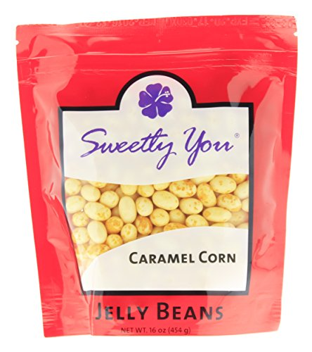 Jelly Belly 16 OZ Caramel Corn Flavored Beans. (Approximately One Pound, ~ 1 Pound) bulk jelly beans in a resealable bag.
