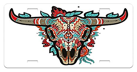 Lunarable Western License Plate 5.88 L X 11.88 W Inches Buffalo Sugar Mexican Skull Colorful Ornate Design Horned Animal Trophy High Gloss Aluminum Novelty Plate Turquoise Red Taupe