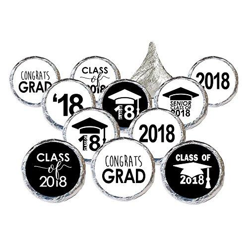 Class of 2018 Graduation Party Favor Stickers, Set of 324 (Black and (Graduation Sticker Seals)
