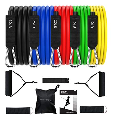 OMORC Resistance Bands Set, Exercise Bands with Handles, Door Anchor, Ankle Straps, Workout Band for Resistance Training, TRX, Aqua Aerobics, Physical Therapy, Stackable 100 lbs, 11Pcs