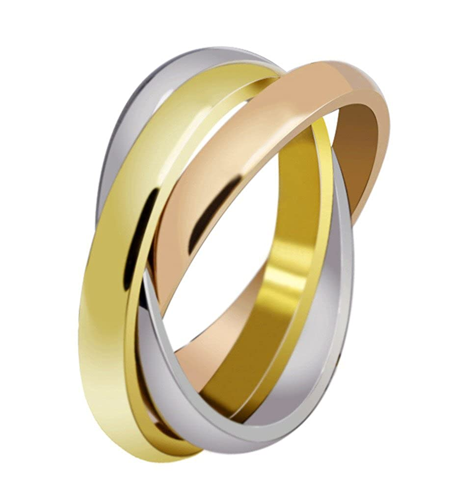 Womens Stainless Steel Trinity Ring Tri-Tone Interlocked Rolling Wedding Band Gold Rose Silver Across Jewelry JSF-R-054