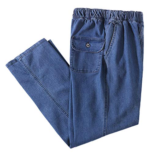 IDEALSANXUN Men's Elastic Waist Loose Fit Denim Pants Casual Solid Jeans Trouser (36, Light Blue) ()