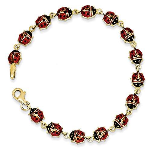14k Ladybug Charm Bracelet (14k Yellow Gold 7in Enamel & Resin Ladybug Bracelet)