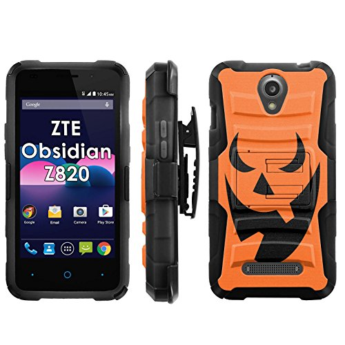 ZTE Obsidian Z820 Phone Cover, Pumpkin Face- Blitz Hybrid Armor Phone Case for [ZTE Obsidian Z820] with [Kickstand and Holster] [INCLUDES Ultra Clear Screen -
