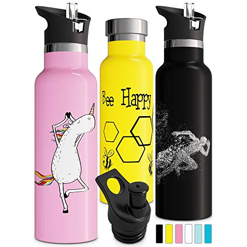 Unicorn Insulated Water Bottle with Straw Double Walled Vacuum Insulated Stainless Steel Gift Sports Cap Eco Friendly Sweat Proof Durable Finish BPA Free 600ml (20 oz, Pink) ()