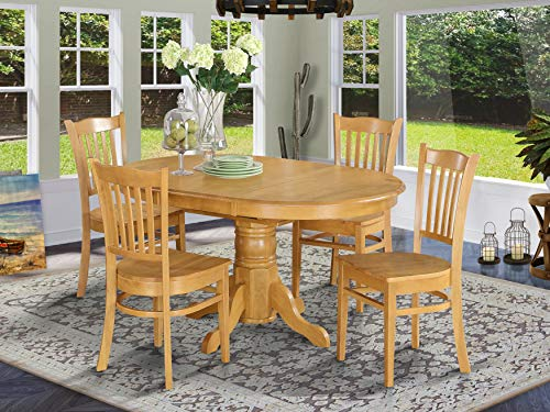 5 Pc Dining room set for 4- Table with Leaf and 4 Dining Chairs.