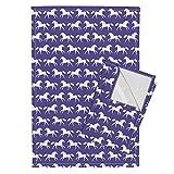 Horse Horses Purple Farm Animal Kids Tea Towels Horses Girls Purple Horse Farm by Andrea Lauren Set of 2 Linen Cotton Tea Towels