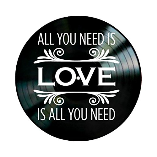 Beatles All You Need is Love Lyrics on a Vinyl Record Album Wall Art by VinylRevamped