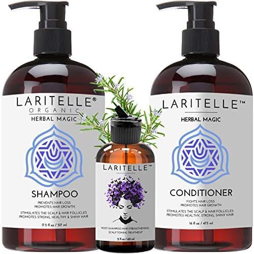 Laritelle Organic Hair Loss Prevention Shampoo 17.5 oz + Conditioner 16 oz + Bonus Post-shampoo Treatment 2 oz | Unscented & Hypoallergenic | NO GMO, Sulfates, Gluten, Alcohol, Parabens, Phthalates