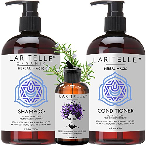 Laritelle Organic Hair Loss Prevention Shampoo 17.5 oz + Conditioner 16 oz + Bonus Post-shampoo Treatment 2 oz | Unscented & Hypoallergenic | NO GMO, Sulfates, Gluten, Alcohol, Parabens, Phthalates by Laritelle
