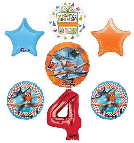 Planes Fire and Rescue 4th Birthday Party Supplies and Balloon Decoration Bouquet -