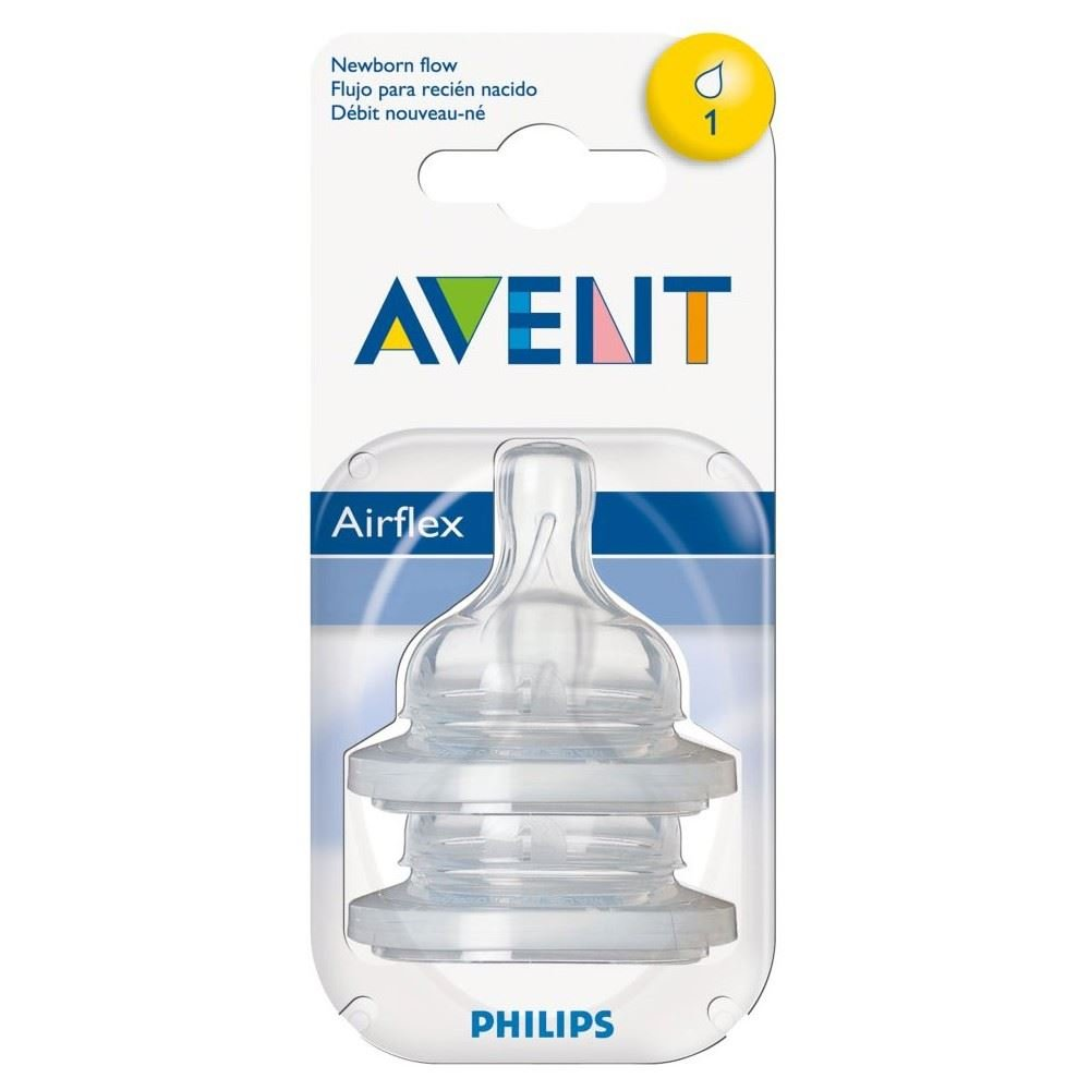 Avent Airflex Silicone Teats - Newborn 1 Hole 0mth+ (2) - Pack of 6