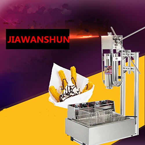 5L Churro Making Machine Spanish Churro Twisted Stick Machine with 12L Electric Deep Fryer by JIAWANSHUN