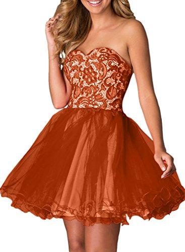 Abendkleider mit Kurzes Cocktailkleider Tanzenkleider Braut La A mia Dunkel Spitze Rock Ballkleider Schwarz Orange Linie Heimkehr qxn1qTwU7