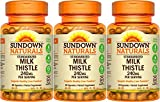 Sundown Naturals Standardized Milk Thistle 240 mg, 180 Capsules (3 X 60 Count Bottles)