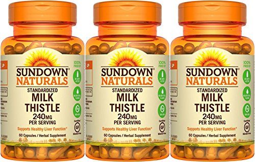 - Sundown Naturals Standardized Milk Thistle 240 mg, 180 Capsules (3 X 60 Count Bottles)