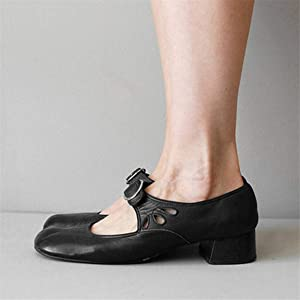 Women Low Block Heel Sandals Pumps Ladies Slip On Casual Loafers Round Toe Shoes