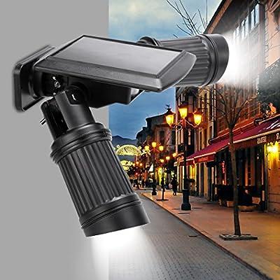 Solar Motion Light, JQstar Solar Motion Sensor 14 LEDS PIR Dual Head Waterproof Wall Light Motion Activated Light With Dusk to Dawn Auto On/Off for Patio Deck Yard Garden
