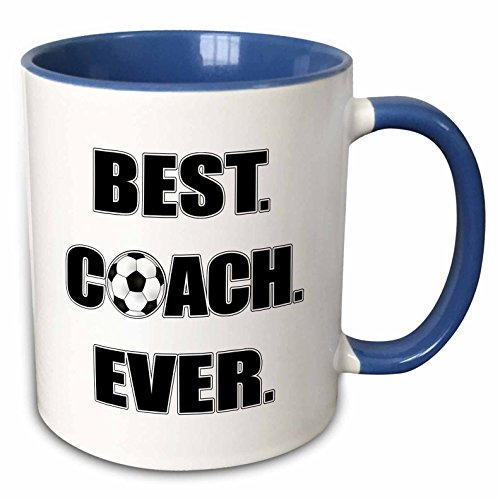 3dRose 181861_6 Best Coach Ever - Black And White Two Tone Mug, 11 oz, Multicolor