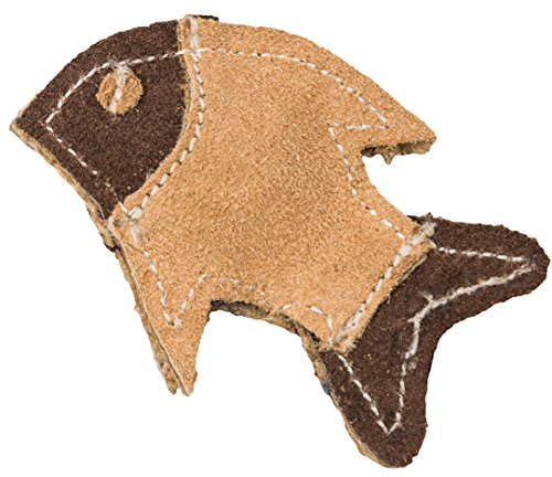 SPOT Ethical Pets Dura Fused Leather Fish Cat Toy, 4″