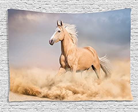 Animal Decor Tapestry by Ambesonne, Palomino Horse in Sand Desert with Long Blond Male Hair and Tail Power Wild Animal Theme, Wall Hanging for Bedroom Living Room Dorm, 60 W X 40 L, Cream and (Blue Theme Room)