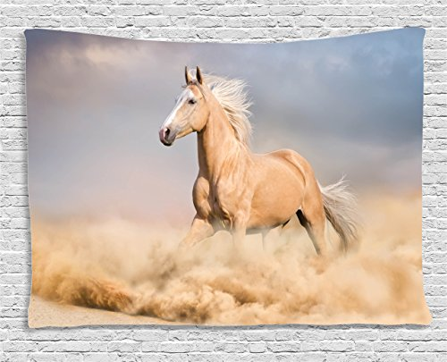 Ambesonne Horses Tapestry, Palomino Horse in Sand Desert with Long Blond Male Hair Power Wild Animal, Wall Hanging for Bedroom Living Room Dorm, 60 W X 40 L Inches, Purple Grey