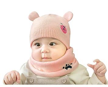 f0d75259eec8 Amorar Ensemble Chapeau et écharpe pour bébé, Hiver Bonnet Écharpe Earflap  Knitted Cap Neck Warmer