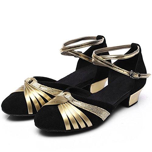 Azbro Mujer Zapatos de Baile Waltz Suela Suave de Tacón Fornido Correa Cruzada Negro