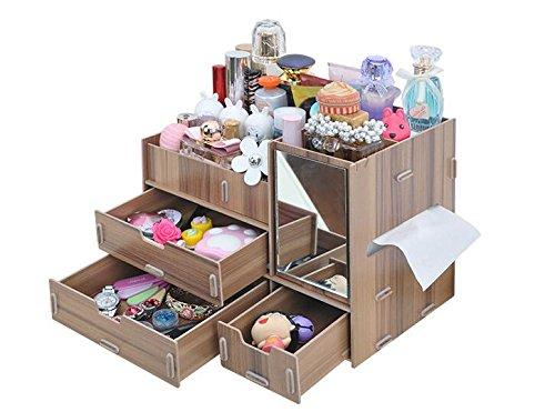 B&S FEEL Fashion DIY Wooden Makeup Storage Display Box 3 Drawers Jewelry Cosmetics Storage Organizer with Mirror