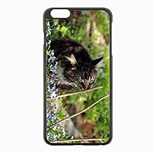 iPhone 6 Plus Black Hardshell Case 5.5inch - grass twigs flowers Desin Images Protector Back Cover