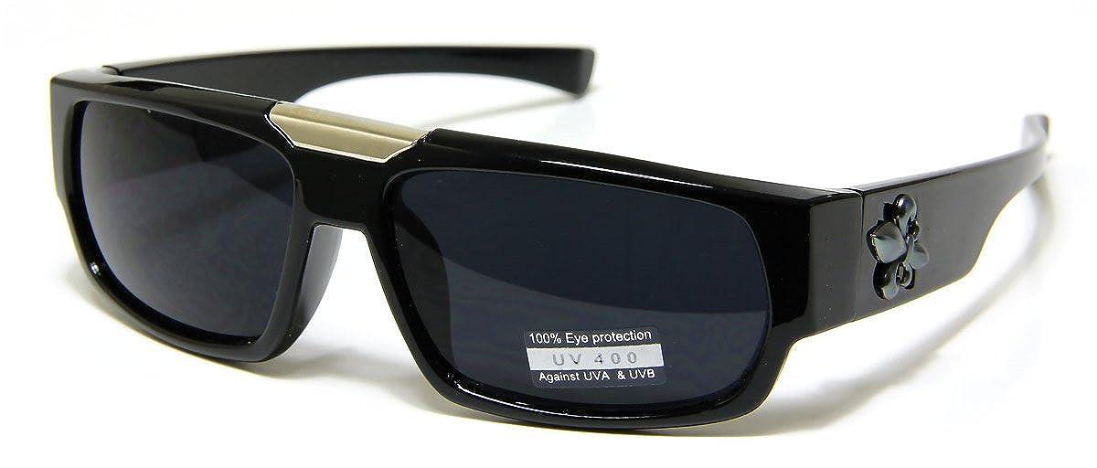 Bikers Shield Rectangular Sports Sunglasses Semi Flat Top Black//Grey Plastic Frame and Lens