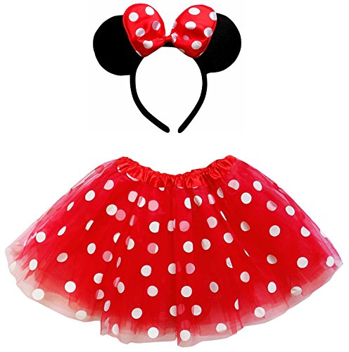 Mouse Costume White Ears (So Sydney Kids Teen Adult Plus Tutu Skirt Ears Headband Costume Halloween Outfit (L (Adult Size), Minnie Red & White Polka)