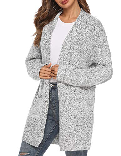 Women's Casual Sweater Cardigan Open Front Long Sleeve Cable Knit Sweater Pockets Grey - Heavy Knit Sweater