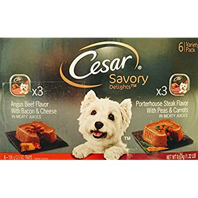 Cesar Savory Six Can Variety Pack - Angus Beef Flavor with Bacon & Cheese (3) & Porterhouse Steak Flavor with Peas & Carrots (3)