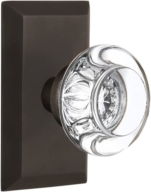 Antique Pewter Nostalgic Warehouse Studio Plate with Round Clear Crystal Glass Knob 2.375 Passage