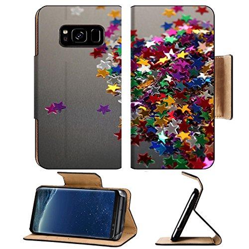 Gr Confetti (Luxlady Premium Samsung Galaxy S8 Flip Pu Leather Wallet Case IMAGE 22041224 stars confetti on gray background)