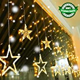 Quntis LED 12 Stars Curtain Lights - 138 LEDs Window Icicle String Lights Decorative Lighting for Outdoor Indoor Home Garden Halloween Wedding Christmas Party Holiday Backdrops, Warm White
