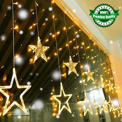 (Led String Lights, Quntis Star Curtain Lights Indoor 110V 3M(W) x2M(H) Warm White 12 Stars 138 LEDs Window Icicle Decor Lighting for Home Garden Holiday Wedding Christmas Party Backdrops)