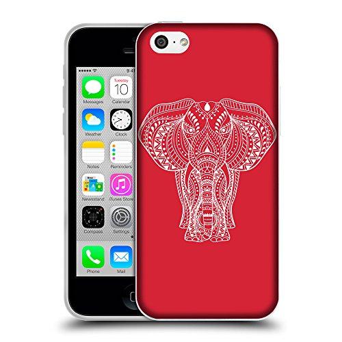 GoGoMobile Coque de Protection TPU Silicone Case pour // Q09600601 Éléphant indien 2 Alizarine // Apple iPhone 5C