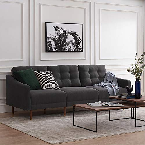 "Futon Sofa Mid-Century Modern Couch, Fabric Upholstered Sofa with Tufted Back and Tapered Gold Caps Legs, 81.5"" W, 3 Seater Sofa Suit for Living Room, Dark Gray"