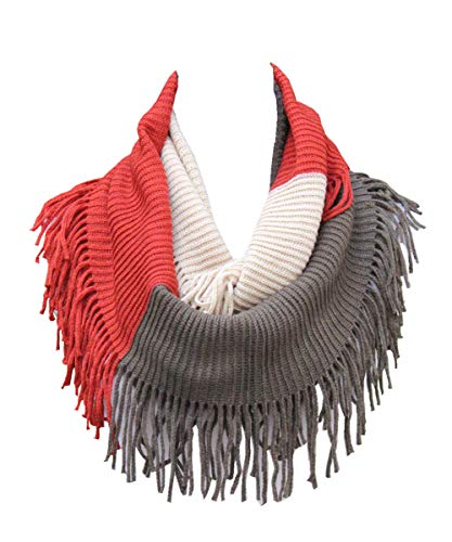 - Lucky Leaf Women Fashion Thick Knitting Woolen Infinity Scarf Circle Loop Scarves with Long Fringe (Red Coffee Beige)