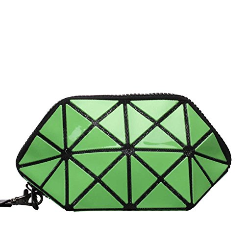 Bolso Plegable Bolso Cosmético Del Cambio Del Laser Geométrico Rhombic Zipper Clutch Lentejuelas Almacenamiento Green
