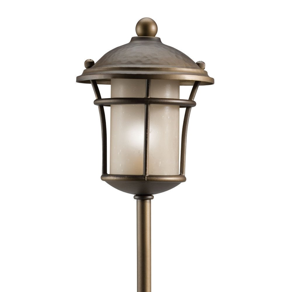 GHP Olde Bronze and Light Amber Textured Glass Outdoor Path Light