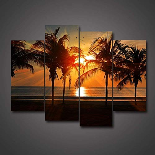 Beautiful Caribbean Beach Motiv Tropical Ocean Paradise Palm Trees At Sunset Wall Decor Painting On Canvas Framed By Wood Summer Seascape Giclee Print For Home And Office Decoration by uLinked Art