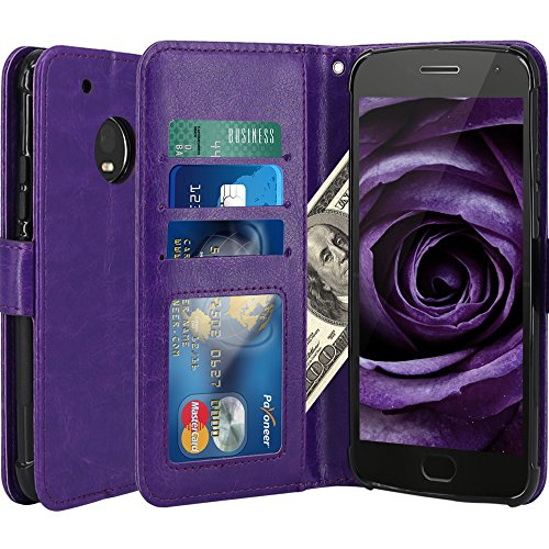 Moto G5 Plus Case, LK Luxury PU Leather Wallet Flip Protective Case Cover with Card Slots and Stand for Motorola Moto G Plus (5th Generation) - Purple