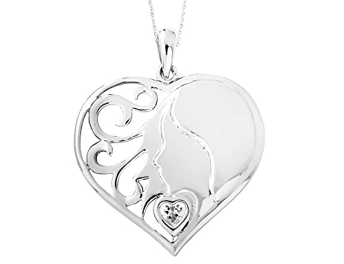 My Daughter, My Hearts Treasure Heart Pendant Necklace in Sterling Silver with Synthetic Cubic Zirconia CZ s