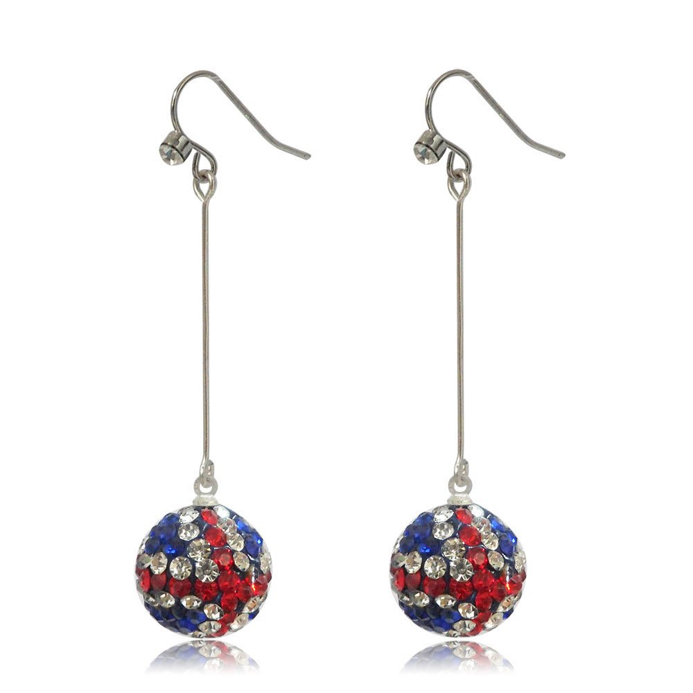 GiftJewelryShop 15MM Sterling Silver Plated Color Cross Disco Crystal Ball Dangle Earrings