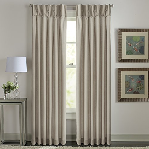 Sandy Cancun Solid Inverted Pleat/Back Tab Curtain Panel - Inverted Pleat Curtains