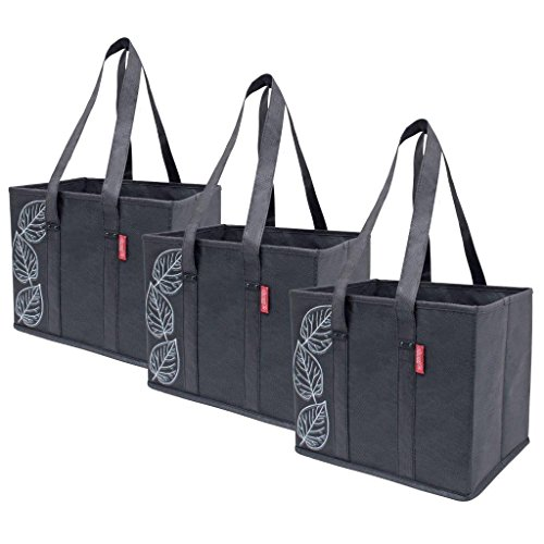 Planet E Reusable Foldable Grocery Bags with Reinforced Bottoms (Pack of 3, Black)