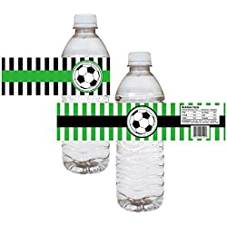 Soccer Ball Party Water Bottle Labels - Boy Girl Birthday Baby Shower Sticker - Set of 12